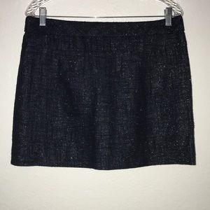 J. Crew mini skirt blue metallic lined Sz 8
